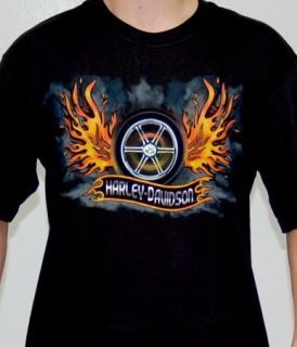 Harley Davidson Mens Fire Wheel Wing Black Biker T Shirt