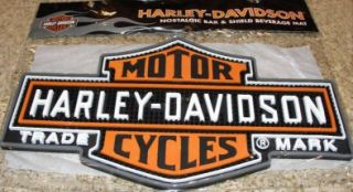 HARLEY DAVIDSON Nostalgic Bar & Shield Beverage Mat HDL 18510 Holds up