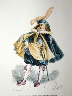 Grandville Des Animaux 1842 Hand Col Print Dog in Fancy Costume