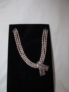 Heidi Daus Sparklestrong Three Row Freshwater Pearl Necklace Pink