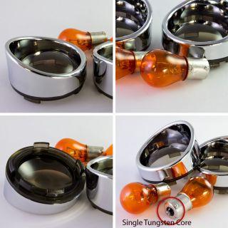 Smoked Lens Cover Visor Style ring + 2 pcs Bulbs for Harley Davidson