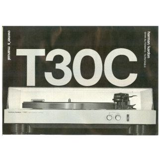 harman kardon T30C turntable original h k Owners Manual in excellent