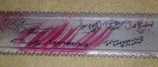 BLOODY CHAINSAW AUTOGRAPHED BY (6) STARS FROM TEXAS CHAINSAW 3D