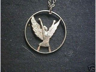 Angel Looking to Heaven Cut Coin Necklace