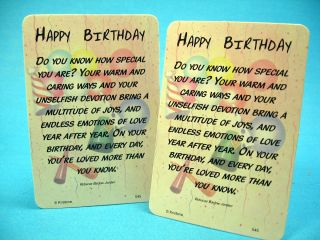 Happy Birthday Poem 2 Verse Cards SKU 545