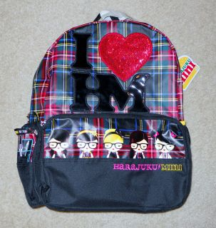 NEW Harajuku Lovers Mini for Target Plaid Red Green Backpack Bag