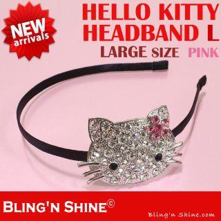 Hello Kitty Large Headband Swarovski Crystal Sparkling Hair band Pink