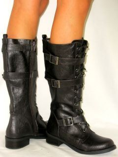 Up Tall Buckle Riding Boot Low Hee Flat Soft Comfy Rubber Grip