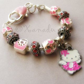 Hello Kitty Angel European Charm Bracelet with Pink Rhinestone Charm