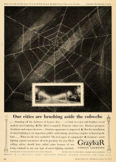 1930 Ad Graybar Electric Co. Street Lighting Spider Web   ORIGINAL