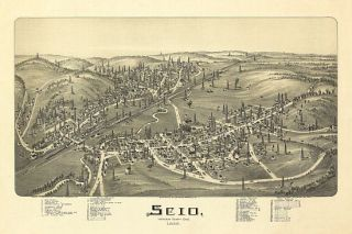 Scio Birds Eye View Map 1899 Ohio Harrison County Scio Harrison