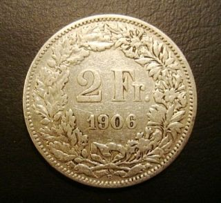 switzerland helvetia 1906 b 2 francs silver coin shipping us $ 4 99