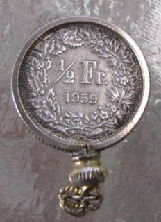 Switzerland Silver 1 2 Franc Coin 1959 Helvetia Pendant Charm