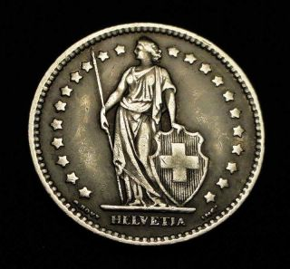 RARE 1914 1 Franc Silver Coin Switzerland Helvetia B Mint Mark
