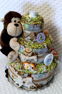 Baby Diaper Cake Zoo Animals Shower Gift or Centerpiece Ready made