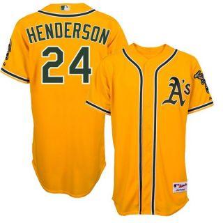 Rickey Henderson Oakland Athletics Authentic Alternate Gold Jersey Sz