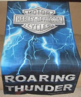 Thunder Blue Lightning Harley Davidson Bath Beach Towel Biker Gift
