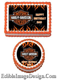 Harley Davidson Edible Birthday Party Cake Image Cupcake Topper Favor