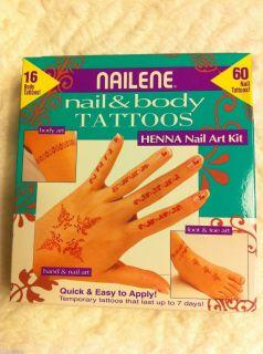 Nailene HENNA nail & body art temporary tattoos set makeup cosmetics