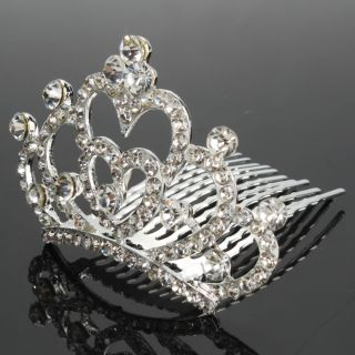 Fashion Wedding Bridal Heart Shaped Style Rhinestone Crown Hair Comb
