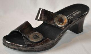 HELLE COMFORT Donina Black Leather Two Strap Comfort Sandals Slides Eu