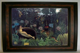 Henri Rousseau The Dream Walnut Framed Giclee Print Canvas Art Repro s