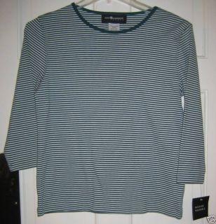 Sag Harbor Sport Green Stripe Pullover Size Small New