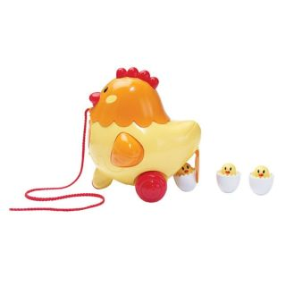 iPlay Henrietta the Egg Laying Hen Hatching Chicks Baby Pull Along Toy