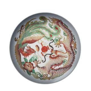 Dragon and phoenix stencil party plate