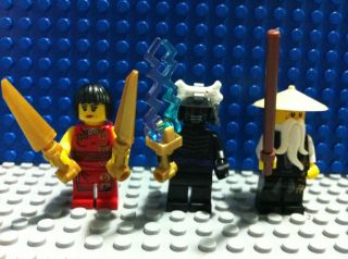 Lego Ninjago Minifigures Sensei Wu Garmadon Nya with Weapons