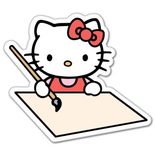 Hello Kitty Drawing Cartoon Bumper Sticker 4 x 4
