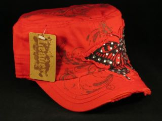 Red Castro Cap Black Butterfly Army Military Cadet Hat Vintage
