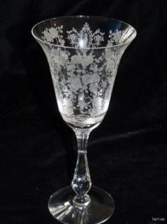 Vintage Tiffin Glass Cherokee Rose Point 9 oz Water Goblet Etched Cut