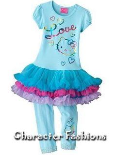 Hello Kitty Shirt Pants Outfit Set Size 4 5 6 6X Leggings Tutu Tunic