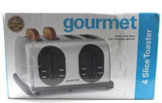 Gourmet Stainless Steel 4 Slice Extra Wide Slot Toaster