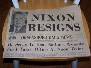 Newspaper Nixon Resigns Headlines~August 9, 1974~Greensboro Daily News