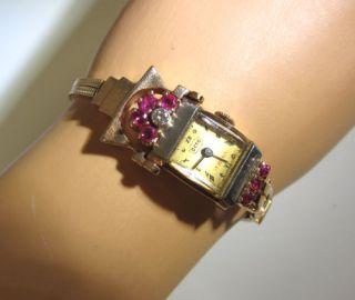 Crazy Unique Antique 26gram 14k Pink Gold Ruby Diamond Deco Retro