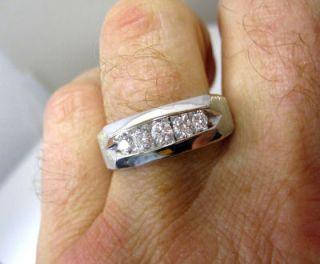AMAZING QUALITY MENS CLASSIC 5 E VS DIAMOND .75CT 14K WHITE GOLD RING