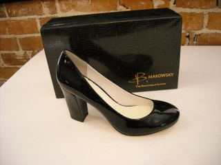makowsky harriet black patent leather pumps 9 5 new