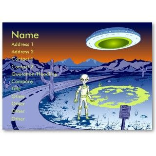 Area 51 Alien Encounter Personal or Business Card.An alien is