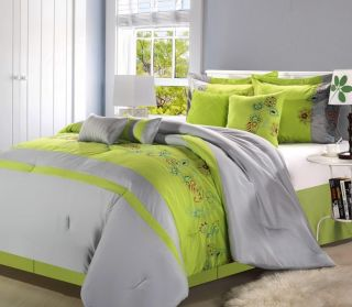 8PC Luxury Bedding Comforter Set Grey Neon Green Bed Sheet Pillows Bed