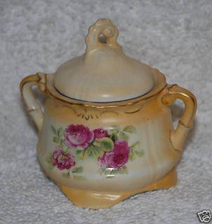 Hand Painted Rose Sugar Bowl Austria Soft Peach Glaze