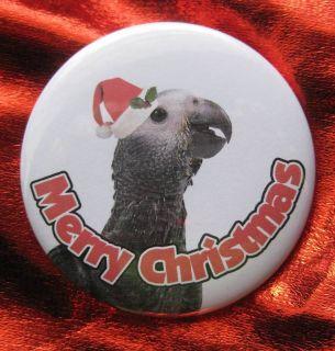 African Grey Parrot Bird Christmas Button Badge Pin