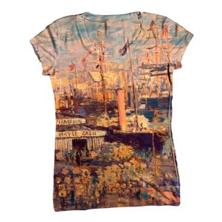 Womens Top Ladies T Shirt Claude Monet Grand Quai at Havre