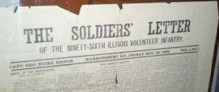Letter 96th Illinois Infantry Civil War Newspaper Harrodsburg KY 1862