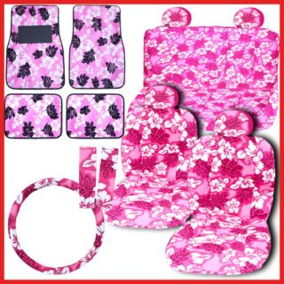 Pink Hawaiian Flowers Car Seat Covers Accessories Set