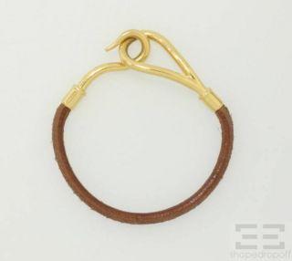 Hermes Brown Leather Gold Plated Jumbo Bracelet