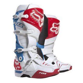 2013 Fox Racing Instinct Motocross Dirt Bike Boots   White/Red/Blue