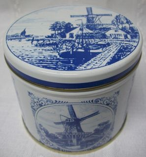 Pretty Blue White Tin Patterned w Windmills