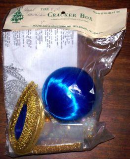 Cracker Box Ornament Kit Royal Hawaiian 3 Royal Blue Satin Ball